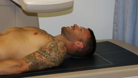 Jamie Mackie goes for a scan