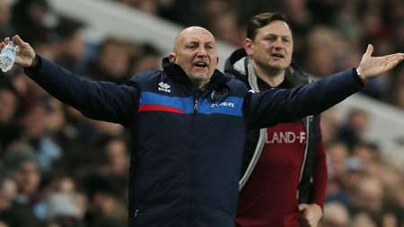 QPR manager Ian Holloway appeals during the first half
