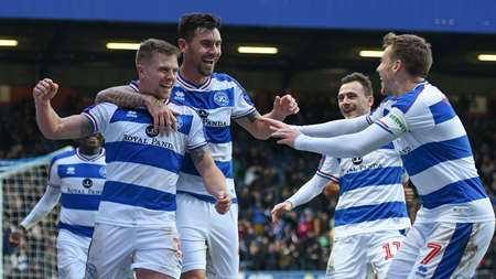 All smiles as Bidwell celebrates with his QPR teammates