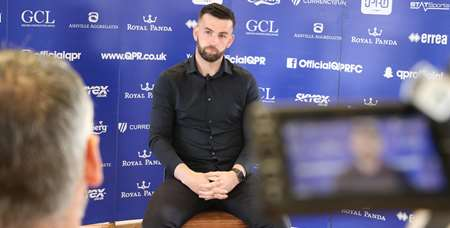 The 23-year-old conducts his club media duties at Harlington