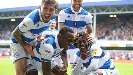 Picture perfect! The boys in blue and white celebrate the second goal