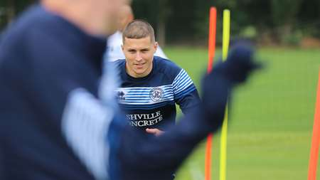 Scotland's number nine Lyndon Dykes returns to the fray
