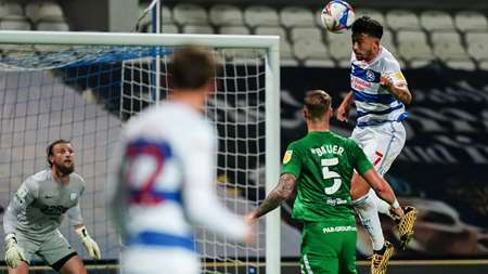 R's striker Macauley Bonne looks to get Rangers back in the game