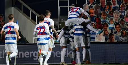 Rangers celebrate drawing level against the Hornets