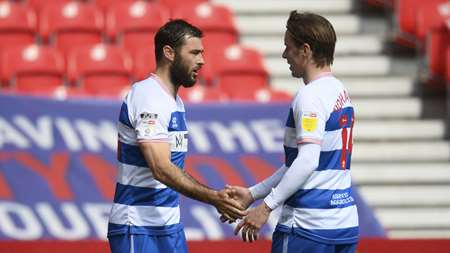 Austin celebrates the seventh goal of his loan spell with Johansen.