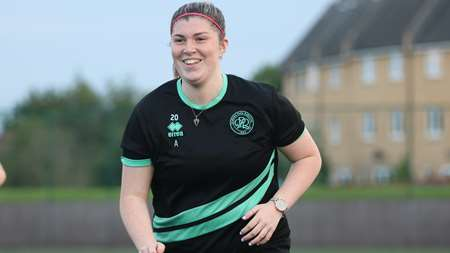 New signing Danielle Maloney looks happy to be in action